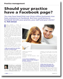 Should Your Practice Have a Facebook Page?